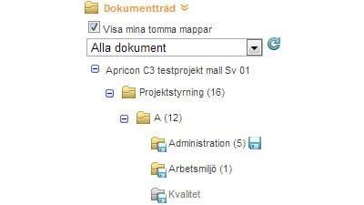 Spara dokument direkt från trädet